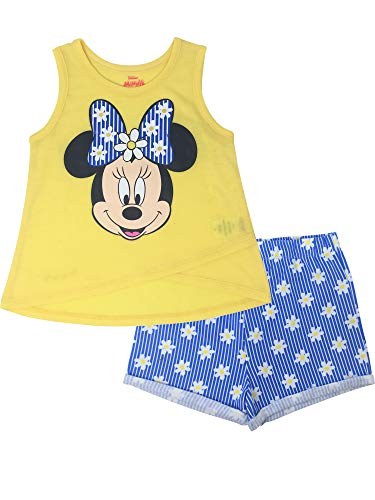 Disney Minnie Mouse Baby Girls' High-Low Tank Top & Twill Shorts Set (Yellow, 18 Months)