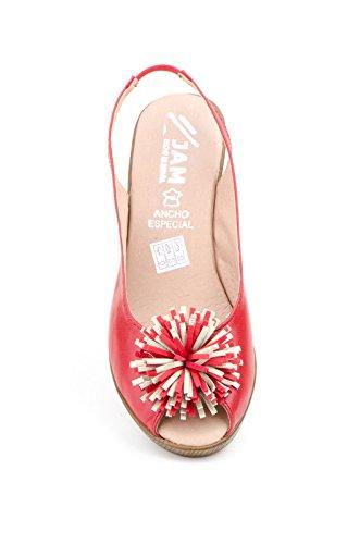 Conbuenpie by Jam - Zapato ancho especial con cuña cierre elastico color rojo