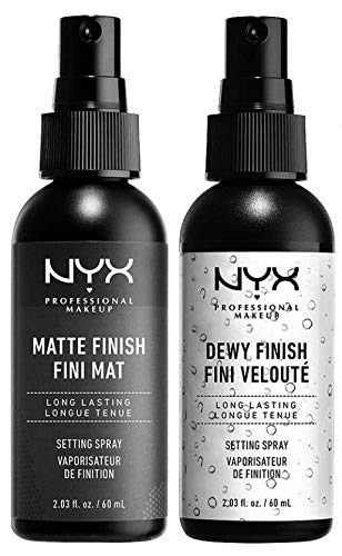 NYX PROFESSIONAL MAKEUP Make Up Setting Spray Matte Finish Bundle with Dewy Finish, 1 Set by NYX PROFESSIONAL MAKEUP