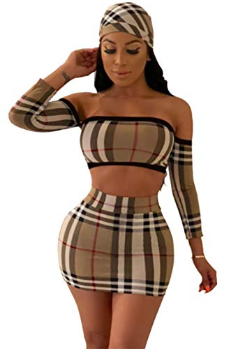 DINGANG Women Sexy Off Shoulder Stripe Tops Mini Skirt Jumpsuits with Scarf 3 Piece Outfits