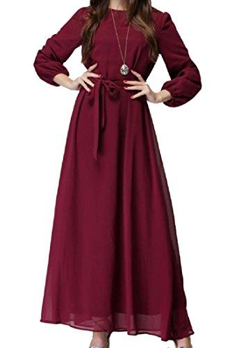 Casuale Coolred Cravatta Abiti Vita Abaya Dimensioni Rosse Grandi donne Chiffon Vino Spostamento ZOqwZgaF