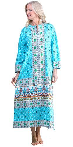 (La Cera Zip Front Caftan - 2/3 Sleeve Cotton Lounger in Turquoise Treasure (Turquoise/White/Orange, Medium))