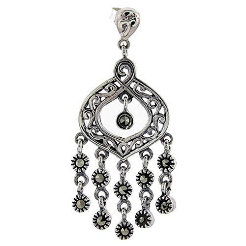 Sterling silver Marcasite chandelier Dangle Drop Earrings Tear Drop Filigree Scrolls 1 3/4 inch - Earrings Marcasite Teardrop