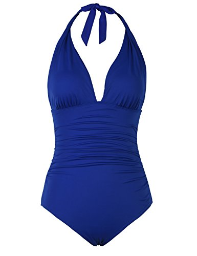 Hilor Women's Plunge Deep V Neck One Piece Swimsuit Tummy Control Monokinis Bikinis 12 Royal - One Womens Royal Piece