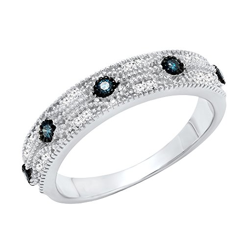 0.15 Carat (ctw) Sterling Silver Round Blue & White Diamond Ladies Vintage Wedding Band (Size 4.5) by DazzlingRock Collection