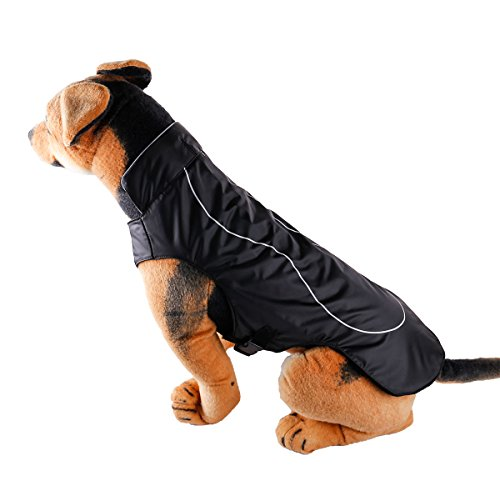 PetCee Dog Jacket Waterproof Fleece Lined Reflective Jacket Dog Loft Jacket Dog Climate Changer Fleece Jacket with a Tape Measure, Black M