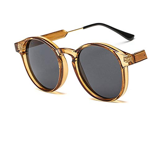Unisex round sunglasses women trending products Leopard yellow transparent frame circle ()