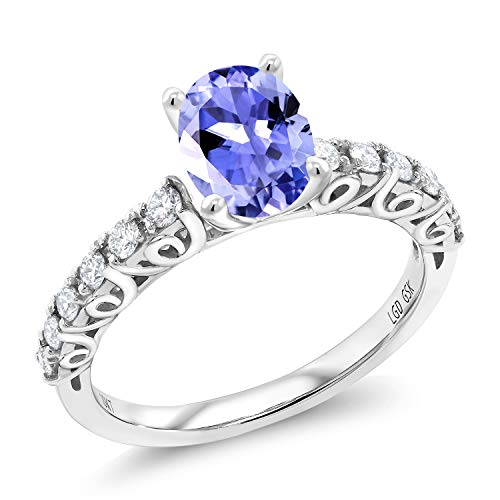 Gem Stone King 1.46 Ct Oval Blue Tanzanite G/H Lab Grown Diamond 10K White Gold Ring (Size ()