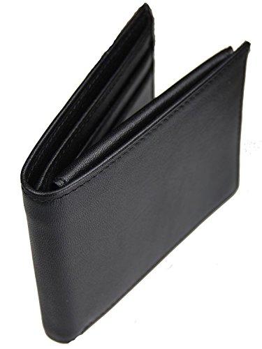 Castello Italian Soft Leather Flip Billfold (Black Soft Italian Leather Billfold)