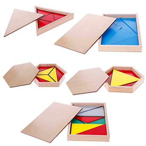Abicial Montessori Wooden Material Toy - Constructive Triangles Rectangular Pentagon