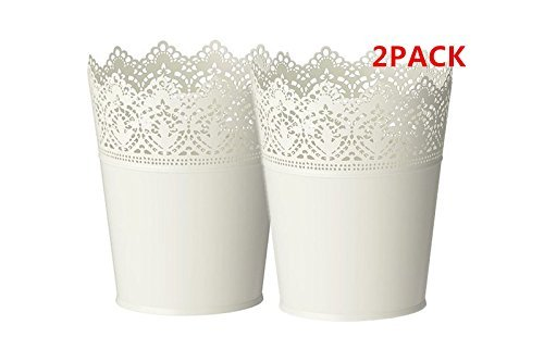 Scalloped Lace Pen - SKURAR Plant pot,Galvanized steel, off-white in/outdoor-Set of 2