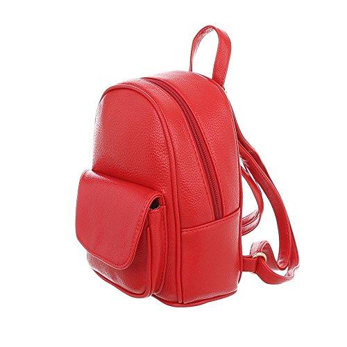 iTal-dEsiGn Damentasche Sehr Kleine Rucksack Freizeittasche Kunstleder TA-M1143 Rot