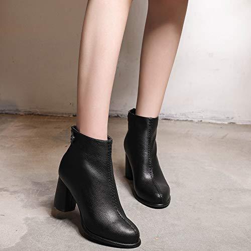 Invierno Botas del Rawdah de Talones Plataforma sólido Mujeres Cuero del de Martin de Botas Mujer la de Las Zapatos Dedo los Color Negro Cremallera del pie Botines Mujer Altos Altas wEdzd