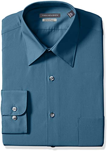 Van Heusen Men's Poplin Regular Fit Solid Point Collar Dress Shirt, deep sea, 18.5
