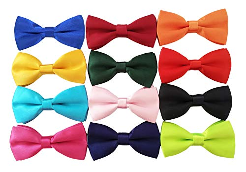 PET SHOW 12 Colors Plain Small Dogs Collar Attachment Bow Ties Puppies Cats Collar Charms Accessories Slides Bowties for Birthday Wedding Parties Assorted Pack of 12 ()