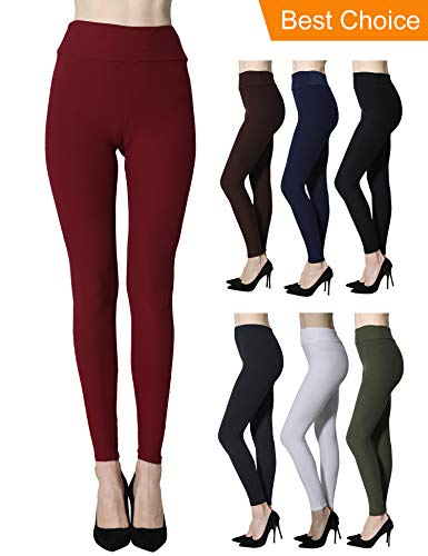 Diravo Womens Basic Leggings Pants Stretch Yoga Pants Slim Leggings Plus Size Burgundy ()