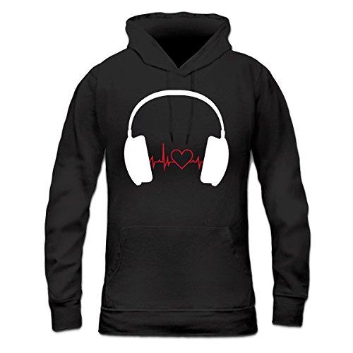 Sudadera con capucha de mujer Heartbeat Music Headphones by Shirtcity Negro