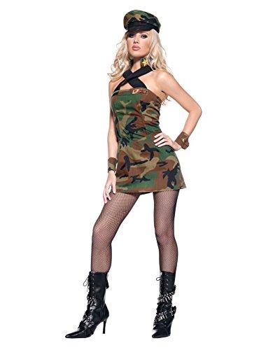 [Sexy Army Costume Camo Print Mini Dress Military Theatre Costumes Sizes: Medium] (Sexy Couples Costumes)