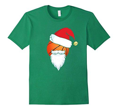 Mens Cute Basketball Ball Santa Hat Christmas T-Shirt Xmas Gift Large Kelly (Basketball Christmas)