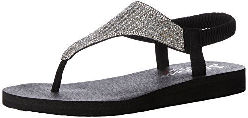 (Skechers Cali Women's Meditation-Rock Crown Flat Sandal,black,10 M US)