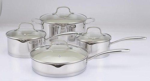 Gibson Home Gleaming Saut Pan With Lid Ceramic Nonstick Interior 9 5 Stainless Steel