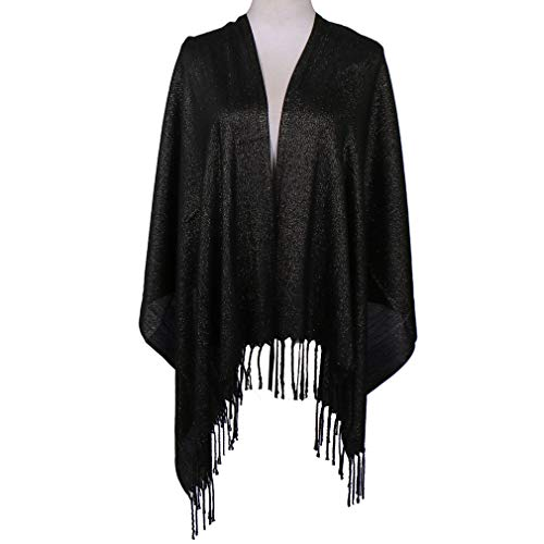 LMVERNA Women Solid Color Scarfs Shimmer Tassels Hijab Lightweight Fashion Large Shawls And Wraps For Evening Dresses(Black)