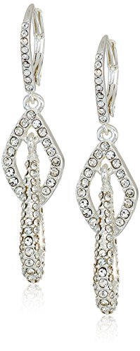 Anne Klein Classics Silver Tone Pave Link Leverback Drop Earring, One - Pave Earrings Link