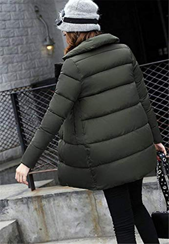 Jacket Armgrün Unique BoBoLily Autumn Color Ladies Long Down Quilted Solid Jackets Quilted Pockets with Buttons Overcoat Outerwear Festive Jacket Winter Vintage Close Sleeve 4f8qBYnrx8