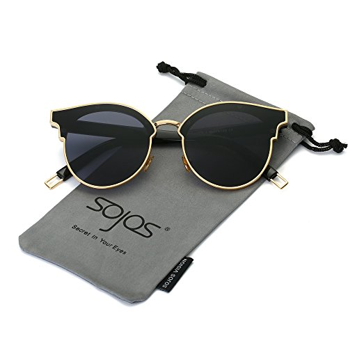 SojoS Fashion Oversized Cateye Sunglasses for Women Flat Mirrored Lens SJ1055 With Gold Frame/Grey Lens
