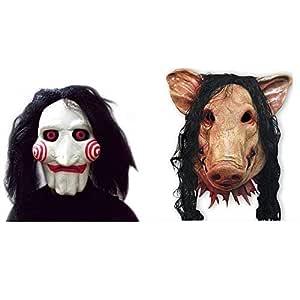 2x SET Cerdo + Máscara SAW JIGSAW con pelo sintético - Perfecto ...