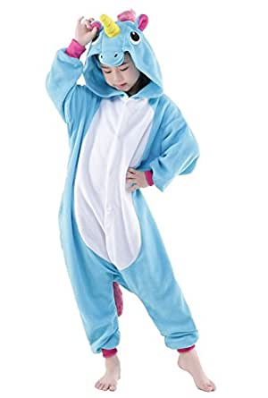 BELIFECOS Childrens Blue Unicorn Costumes Animal Onesies Cosplay Homewear Pajamas