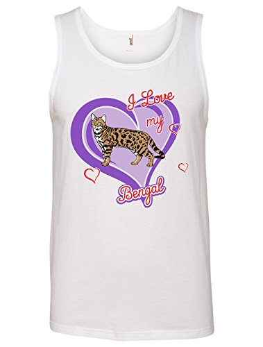 Tenacitee Men's Bengal Cat Tank Top, Large, White