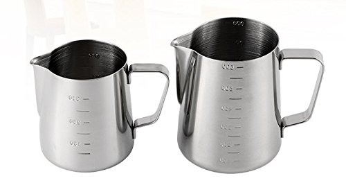 iCoffee Milk Frothing Pitcher 20 oz (600 ml) HEAVY 1.2MM Thickness FOODGRADE 18/10 Stainless Steel with INDELIBLE Measurements on BOTHSIDES for Coffee Espresso Maker Milk Frothing Steaming Pitcher by iCoffee Brand (Image #1)