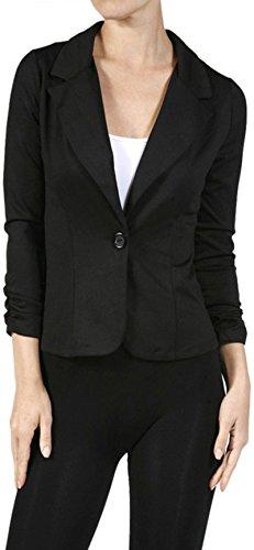 ToBeInStyle Women's 3/4 Sleeve One Button Stretch Knit Blazer - Black - Medium