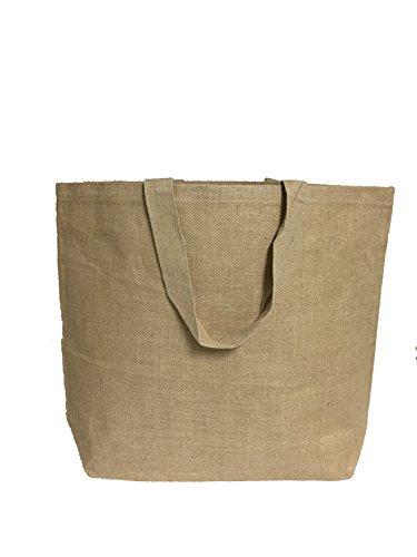 Natural Jute Burlap Tote Bag w/Cotton Lining Hessian Rustic Beach Bags - 3 Sizes (1, X-Large) Jumbo Paper Tote