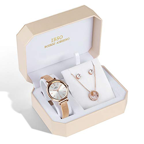 (IBSO BOERNI AIBISINO Women Watch Sets Quartz Wrist Watches with Rose Gold Earring and Necklace 3 Sets for Christmas Valentine's Day Gifts (8688 XL004))
