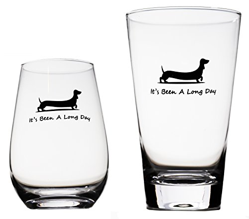 Momstir It's Been a Long Day Dachshund Funny Novelty Beer Glass & Wine Glass Combo 16oz Wiener Dog Beer Gifts Dog Beer Gifts Present for Dad Papa Grandpa by Momstir