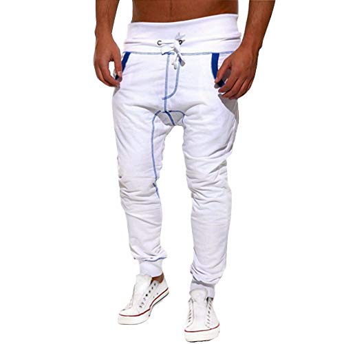 Emimarol Mens Sweatpants Casual Jogger Dance Sportwear Baggy Harem Pants Slacks Trousers Sweatpants White (Nautical Sweatpants)