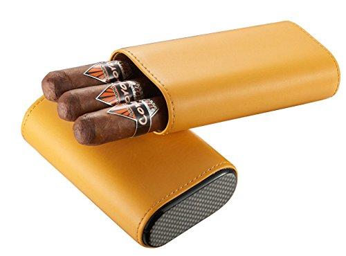 Visol Burgos Yellow Leather Cigar Case - Holds 3 Cigars