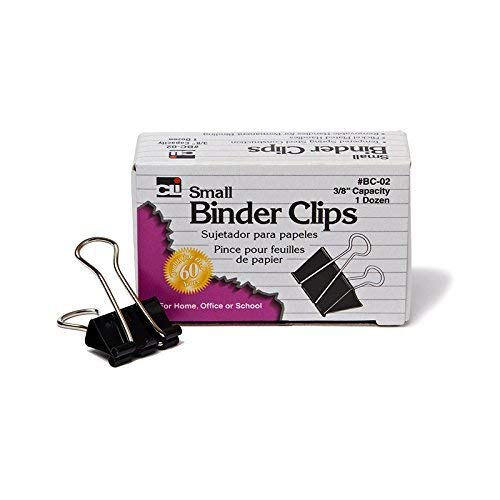 - CHARLES LEONARD BINDER CLIPS 12CT SMALL 3/8IN (Set of 12)