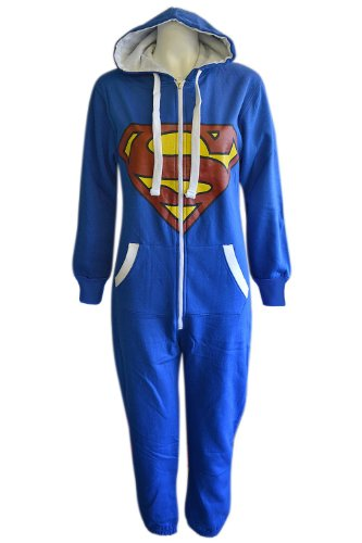 Mens Unisex Womens Adult Camouflage Batman/ Superman Print Hoody Onesie Jumpsuits All In Size S M L XL (XL, Superman)
