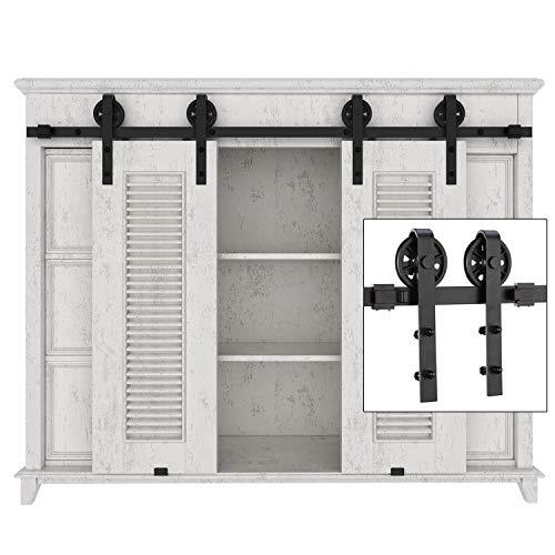 Door Window Kits - EaseLife 5 FT Cabinet Mini Double Door Sliding Barn Door Hardware Kit - Heavy Duty - Sturdy - Big Wheel - Slide Smooth Quiet - Apply for Wardrobe Window TV Stand Closet - 5FT Track Double Door Kit