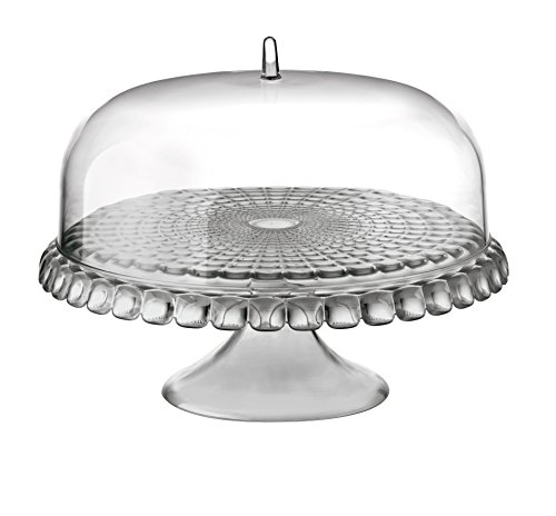 Guzzini Tiffany Collection Raised Cake Stand with Dome Lid, SMMA Plastic, 14-Inches, Sky Grey