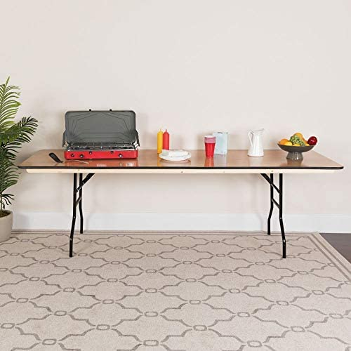 Flash Furniture 8-Foot Rectangular Wood Folding Banquet Table with Clear Coated Finished Top