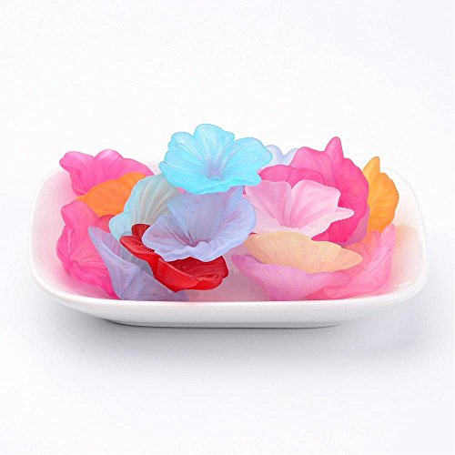 (13pc Assorted Multicolor X- Large Frosted Acrylic Lucite Petunia Flower Beads Caps for Jewelry Making (33mm/1.3 inch))
