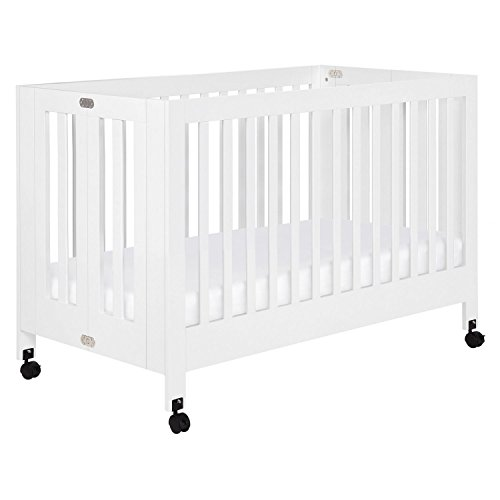 Babyletto Maki Full-Size Portable Folding Crib with Toddler Bed Conversion Kit, White