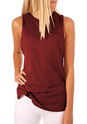 Hount Ladies High Neck Tank Tops Flowy Sleeveless Shirts Casual Tunic Tees (Wine Red, M)