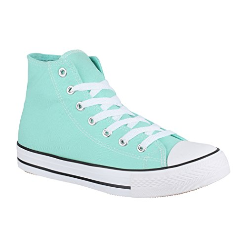 Elara Unisex Sneaker | Sport Scarpe Per Uomo Donna | High Top Sneakers Tessile Scarpe 36–47 Green Basic (Fällt Größer Aus)