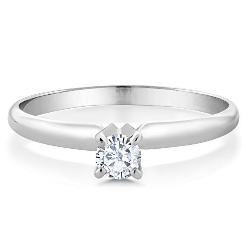 Charles & Colvard White Created Moissanite 4mm Round 0.25 ct Engagement Promise Solitaire Ring in 14K Solid White Gold by Gem Stone King (Image #1)