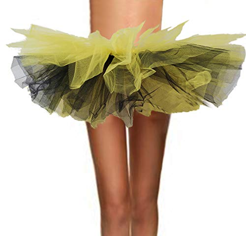 ASSN Women's Classic 80s Mini Puffy Tutu Halloween Run Bubble Ballet Skirt 6-Layered Black and Yellow Regual ()